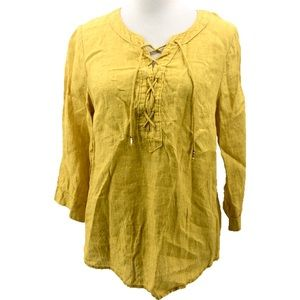 Maeve Anthropologie Linen Lace Up Blouse Top
